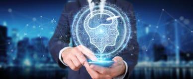 Homme d'affaires utilisant l'hologramme numérique d'icône d'intelligence artificielle