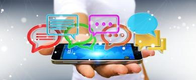 Homme d'affaires utilisant l'ico coloré numérique de conversation du rendu 3D Photo libre de droits