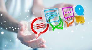 Homme d'affaires utilisant l'ico coloré numérique de conversation du rendu 3D Images stock