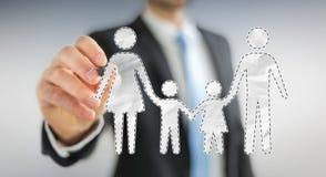 Homme d'affaires utilisant l'interface de famille avec un renderi numérique du stylo 3D Image stock