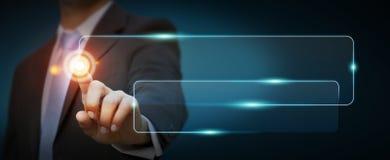 Homme d'affaires utilisant la barre tactile d'adresse de Web d'interface pour surfer dessus I illustration libre de droits