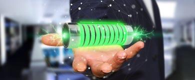 Homme d'affaires utilisant la batterie verte avec le rendu des foudres 3D Image libre de droits