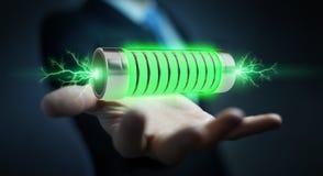 Homme d'affaires utilisant la batterie verte avec le rendu des foudres 3D Photos libres de droits