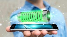 Homme d'affaires utilisant la batterie verte avec le rendu des foudres 3D Images stock
