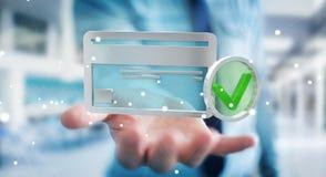 Homme d'affaires utilisant la carte de crédit pour payer le rendu 3D en ligne Image stock