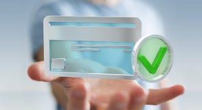 Homme d'affaires utilisant la carte de crédit pour payer le rendu 3D en ligne Photographie stock libre de droits