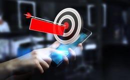 Homme d'affaires utilisant la cible du rendu 3D Photos libres de droits