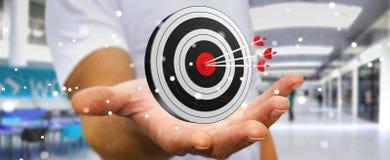 Homme d'affaires utilisant la cible du rendu 3D Photo libre de droits