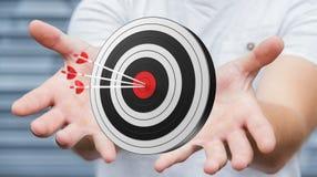 Homme d'affaires utilisant la cible du rendu 3D Images libres de droits