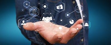 Homme d'affaires utilisant la présentation numérique pour des affaires d'association Photos stock