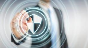 Homme d'affaires utilisant la protection sûre de bouclier pour protéger ses données 3D Image libre de droits