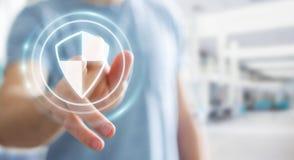 Homme d'affaires utilisant la protection sûre de bouclier pour protéger ses données 3D Image stock