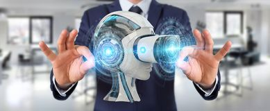 Homme d'affaires utilisant la réalité virtuelle et l'intelligence artificielle 3D