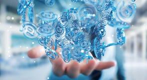 Homme d'affaires utilisant la sphère bleue d'arobase numérique à surfer sur l'interne Photos libres de droits