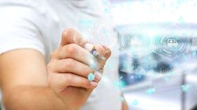 Homme d'affaires utilisant la sphère médicale numérique avec un rendu du stylo 3D Image stock