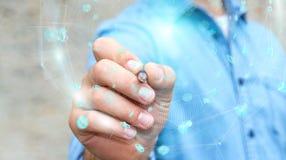 Homme d'affaires utilisant la sphère numérique de données d'hologrammes avec un stylo 3D r Photo libre de droits