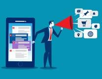 Homme d'affaires utilisant la technologie de smartphone pour le marketing Image libre de droits