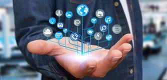 Homme d'affaires utilisant le circuit électronique numérique moderne avec des icônes Photo stock