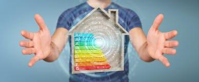 Homme d'affaires utilisant le diagramme d'estimation d'énergie du rendu 3D dans un h en bois Image libre de droits