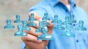 Homme d'affaires utilisant le groupe de verre brillant d'avatar avec le rendu du stylo 3D Photo libre de droits