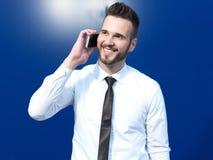 Homme d'affaires utilisant le portable Images libres de droits