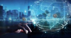 Homme d'affaires utilisant le réseau de globe avec le rende numérique de la connexion 3D illustration libre de droits
