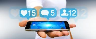 Homme d'affaires utilisant le renderi social coloré numérique des icônes 3D de media Image stock