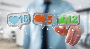Homme d'affaires utilisant le renderi social coloré numérique des icônes 3D de media Photographie stock libre de droits