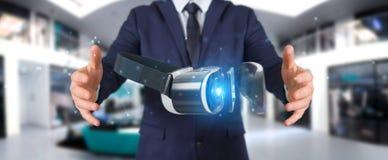 Homme d'affaires utilisant le renderin de la technologie 3D en verre de réalité virtuelle Photo stock