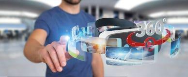 Homme d'affaires utilisant le renderin de la technologie 3D en verre de réalité virtuelle Photo libre de droits