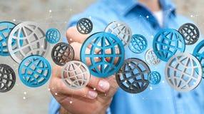 Homme d'affaires utilisant le rendering' numérique des icônes '3D de Web Photographie stock libre de droits