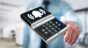 Homme d'affaires utilisant le rendu à la maison du dispositif de sécurité d'alarme 3D Photo libre de droits