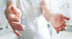 Homme d'affaires utilisant le rendu à la maison futé de l'interface numérique 3D Image libre de droits