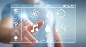 Homme d'affaires utilisant le rendu à la maison futé de l'interface numérique 3D Images stock