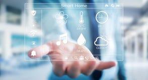 Homme d'affaires utilisant le rendu à la maison futé de l'interface numérique 3D Image stock