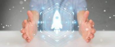 Homme d'affaires utilisant le rendu de démarrage de l'interface numérique 3D Images libres de droits