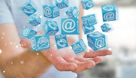 Homme d'affaires utilisant le rendu de flottement du contact 3D de cube Photographie stock libre de droits