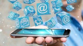 Homme d'affaires utilisant le rendu de flottement du contact 3D de cube Photo stock