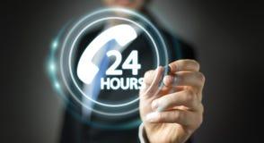 Homme d'affaires utilisant le rendu de l'aide 3D de client de ligne directe Photo libre de droits
