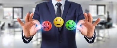 Homme d'affaires utilisant le rendu de l'estimation de satisfaction du client 3D Photographie stock libre de droits