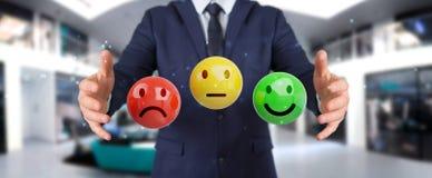 Homme d'affaires utilisant le rendu de l'estimation de satisfaction du client 3D Image libre de droits
