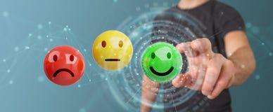 Homme d'affaires utilisant le rendu de l'estimation de satisfaction du client 3D Photos stock