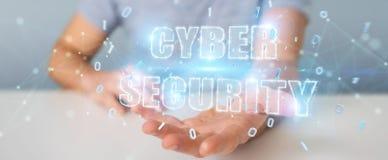 Homme d'affaires utilisant le rendu de l'hologramme 3D des textes de sécurité de cyber Images libres de droits