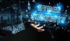 Homme d'affaires utilisant le rendu de l'hologramme 3D des textes de sécurité de cyber Photos stock