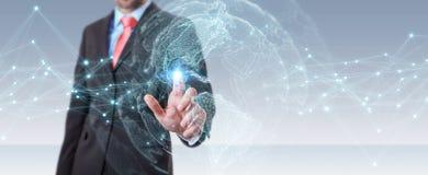 Homme d'affaires utilisant le rendu de l'interface 3D de carte du monde des Etats-Unis Photo stock