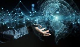 Homme d'affaires utilisant le rendu de l'interface 3D de carte du monde des Etats-Unis Photographie stock