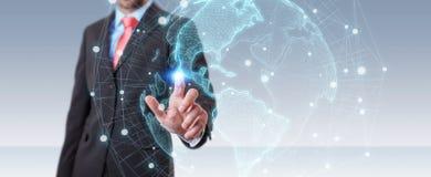 Homme d'affaires utilisant le rendu de l'interface 3D de carte du monde des Etats-Unis Images libres de droits