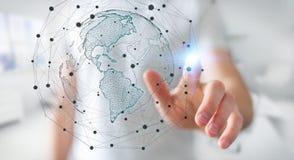 Homme d'affaires utilisant le rendu de l'interface 3D de carte du monde des Etats-Unis Photos stock