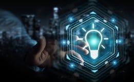 Homme d'affaires utilisant le rendu de l'interface 3D d'idée d'ampoule Photo libre de droits