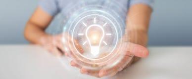 Homme d'affaires utilisant le rendu de l'interface 3D d'idée d'ampoule Image libre de droits